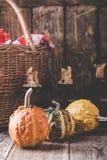 Todavía vida con las calabazas, velas, cesta de mimbre y rojo-comprobado Imagen de archivo libre de regalías
