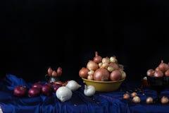 Todavía vida con las cebollas Fotografía de archivo libre de regalías