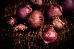 Todavía vida con las cebollas Foto de archivo libre de regalías