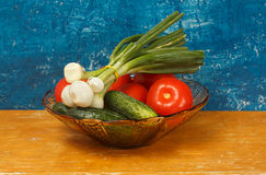 Todavía vida con las cebollas, los tomates y los pepinos Fotos de archivo libres de regalías