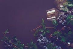 Todavía vida con las copas, las botellas, las uvas y las hojas Foto de archivo