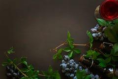 Todavía vida con las copas, las botellas, las uvas y las hojas Foto de archivo libre de regalías