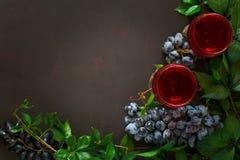 Todavía vida con las copas, las botellas, las uvas y las hojas Imagenes de archivo