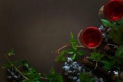 Todavía vida con las copas, las botellas, las uvas y las hojas Fotografía de archivo