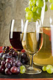 Todavía vida con las copas de vino, las botellas de vino y las uvas Fotografía de archivo