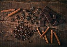 Todavía vida con las especias, el café y el chocolate Fotos de archivo libres de regalías