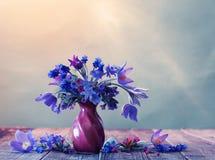 Todavía vida con las flores azules Fotos de archivo libres de regalías