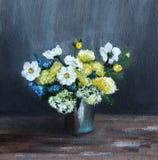 Todavía vida con las flores blancas y amarillas ilustración del vector
