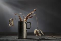 Todavía vida con las flores marchitadas Fotos de archivo