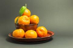 Todavía vida con las mandarinas frescas en un cuenco rojo Imagen de archivo libre de regalías