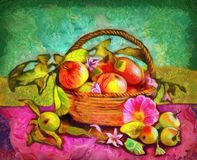 Todavía vida con las manzanas en una cesta Imágenes de archivo libres de regalías