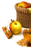 Todavía vida con las manzanas y las hojas de otoño Imagen de archivo