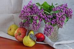 Todavía vida con las peras y las manzanas de la lila Imagen de archivo