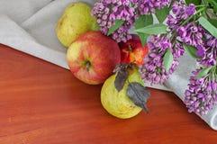 Todavía vida con las peras y las manzanas de la lila Fotos de archivo
