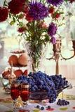 Todavía vida con las uvas Fotografía de archivo libre de regalías