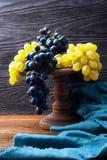 Todavía vida con las uvas azules y verdes Fotografía de archivo libre de regalías