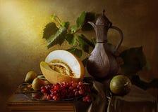 Todavía vida con las uvas del melón y el jarro viejo Imagen de archivo libre de regalías