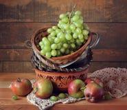 Todavía vida con las uvas y las manzanas verdes Fotos de archivo libres de regalías