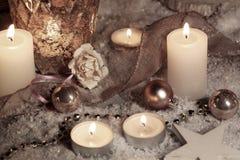 Todavía vida con las velas para la Navidad Fotografía de archivo