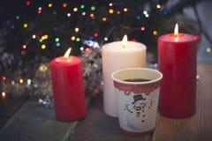 Todavía vida con las velas y el café Foto de archivo libre de regalías