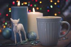 Todavía vida con las velas y el café ardientes Foto de archivo libre de regalías