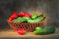 Todavía vida con las verduras del jardín Foto de archivo libre de regalías