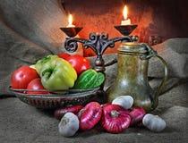 Todavía vida con las verduras en un estilo retro Imagen de archivo libre de regalías