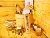 Todavía vida con los accesorios de la sauna. Fotos de archivo libres de regalías