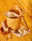 Todavía vida con los accesorios de la sauna Imagen de archivo libre de regalías