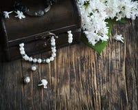 Todavía vida con los collares del cofre del tesoro y de la perla Fotos de archivo