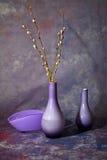 Todavía vida con los floreros de cristal Imagen de archivo libre de regalías