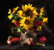 Todavía vida con los girasoles, las frutas y las bayas Fotografía de archivo libre de regalías