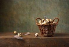 Todavía vida con los huevos de codornices Foto de archivo