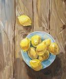 Todavía vida con los limones en la placa azul stock de ilustración