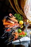 Todavía vida con los pescados en estilo retro Imagenes de archivo