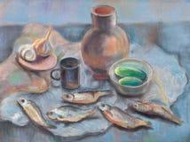 Pescados secados stock de ilustración