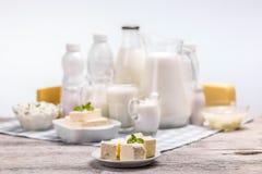 Todavía vida con los productos lácteos Imagenes de archivo