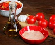 Todavía vida con los tomates y la salsa Imágenes de archivo libres de regalías