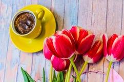 Todavía vida con los tulipanes Imagen de archivo