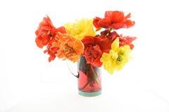 Todavía vida con los tulipanes rojos y amarillos de la peonía Fotografía de archivo libre de regalías