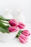 Todavía vida con los tulipanes rosados Fotografía de archivo libre de regalías