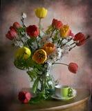 Todavía vida con los tulipanes y los albaricoques de las ramificaciones Fotografía de archivo