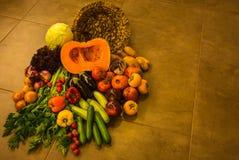 Todavía vida con los vehículos y las frutas del otoño Imágenes de archivo libres de regalías