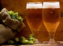 Todavía vida con los vidrios de cerveza Foto de archivo libre de regalías