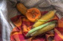Todavía vida con maíz y calabaza fotografía de archivo libre de regalías
