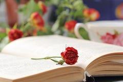 Todavía vida con té, libros y rosas Fotos de archivo
