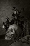 Todavía vida con un cráneo humano con una rosa roja. Foto de archivo libre de regalías