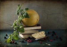 Todavía vida con un melón amarillo Fotos de archivo libres de regalías