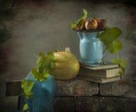 Todavía vida con un melón amarillo Imagen de archivo