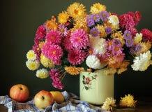Todavía vida con un ramo de crisantemos y de manzanas Fotos de archivo libres de regalías